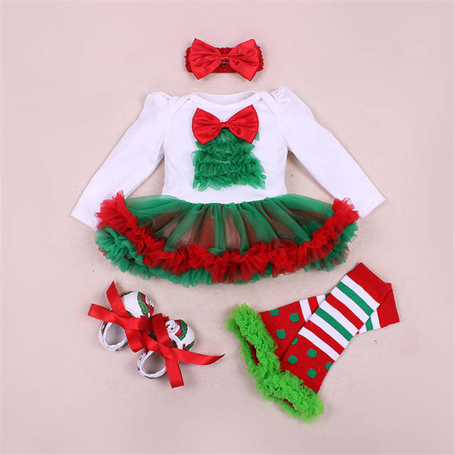 Fashion Newborn Baby Girl Cotton Rompers Christmas Tree Tutu Dress + Shoes + Leg Warmers + Headband 4pcs/set Toddler Clothes Set
