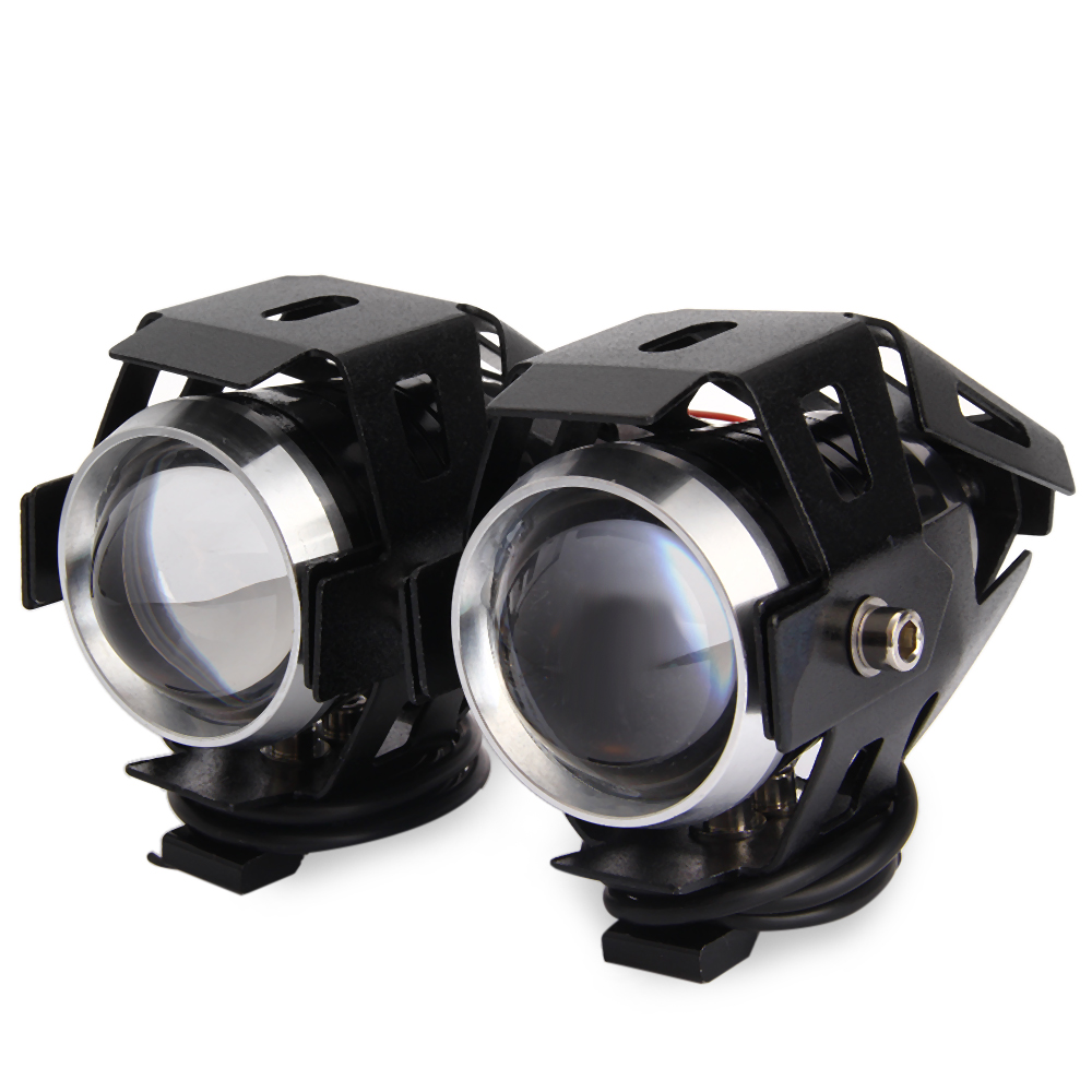 Durable 2PCS U5 Motorcycle 12V LED Headlight Laser Cannon Waterproof High Power Spot Light