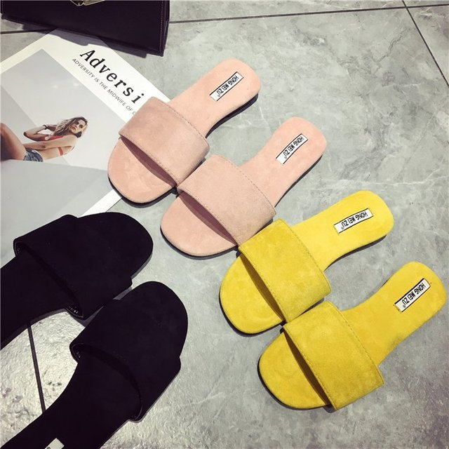 10abe0a3a2181 flat shoes women house slippers designer slides women 2018 luxury slippers  pink slides yellow shoes loafers fashion summer black