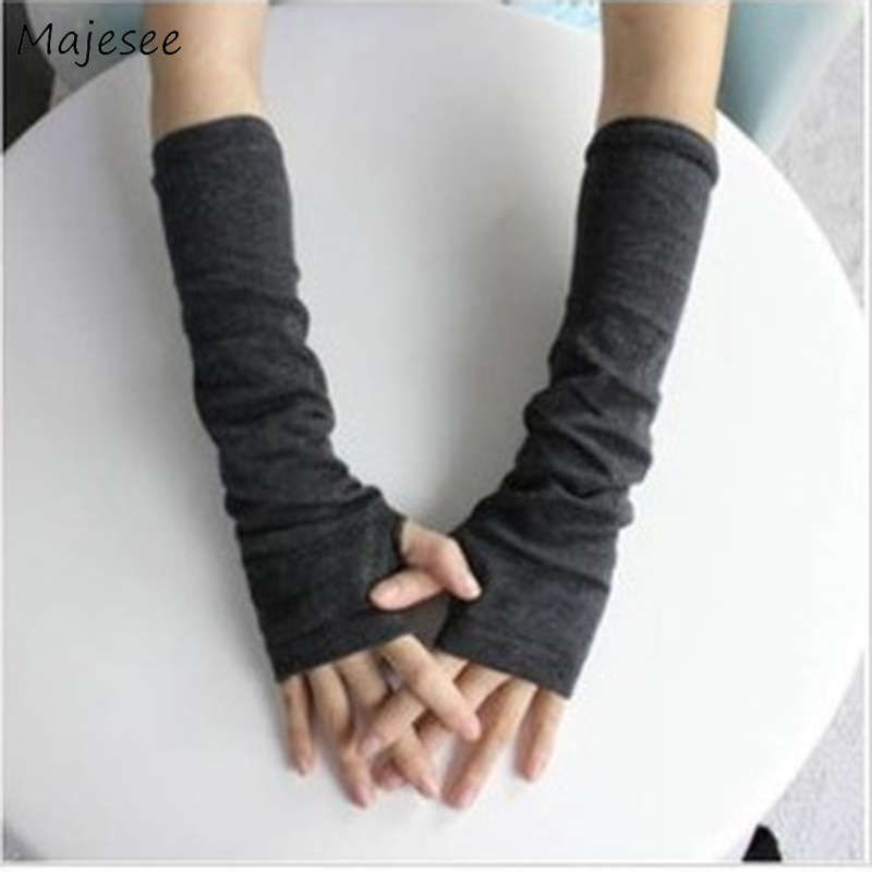 Arm Warmers Women Knitting Solid All-match Warm Thicker Simple Womens Long Sleeve Outside Lady Elegant Chic Korean Style Female