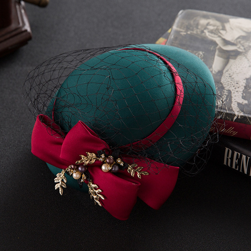 2017 Dark Green Linen Wedding Hats With Bows Pearls Bridal Hats Bridal Hair Accessories Applique chapeau mariage for Brides