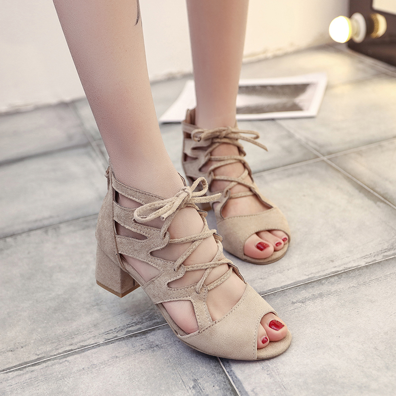 2019 Women Sandals Gladiator Suede Leather Trip around with High Heels Summer Fashion Toe Shoes Woman Square heel Pulse Size 42 image