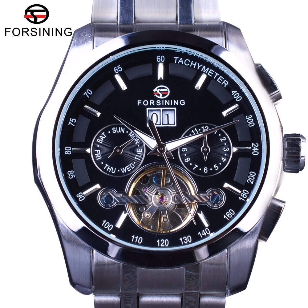 Forsining Luxury Business Male Wrist Watch Tourbillion Stainless Steel Design Calendar Mens Automatic Watches Top Brand Luxury forsining navigator series tourbillion date display black silver watch top brand luxury male automatic mechanica wrist watches