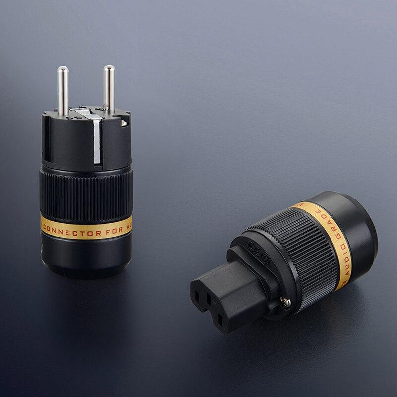1Pair Viborg VE501R Pure copper Rhodium Plated Schuko Male Power Plug Connector Audio Male Plug HIFI