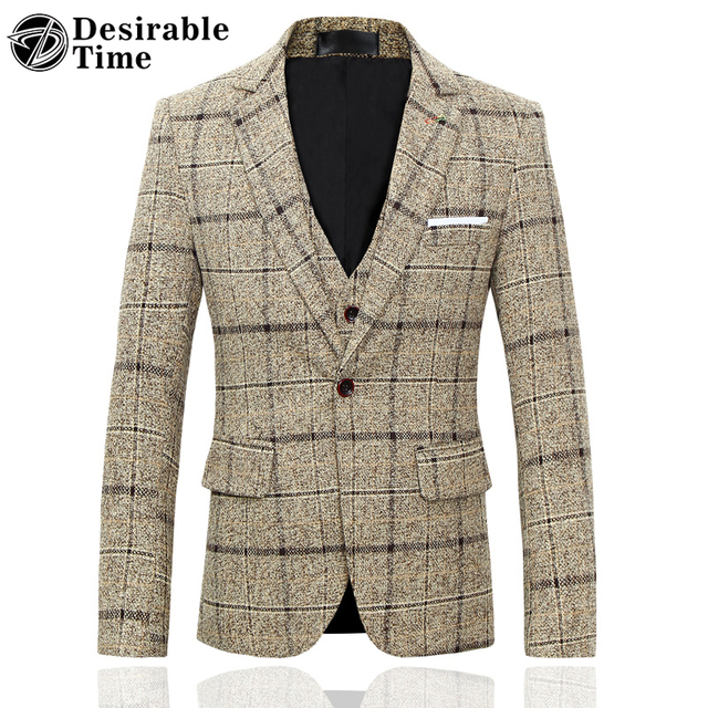Мужчины Slim Fit Плед Пиджак 4XL 5XL 2017 Поступила Новая Мода Мужская Повседневная Blazer Jacket Плюс Размер DT418