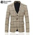 Homens Slim Fit Blazer Xadrez 4XL 5XL 2017 Nova Moda Da Chegada Dos Homens Casuais Jaqueta Blazer Plus Size DT418