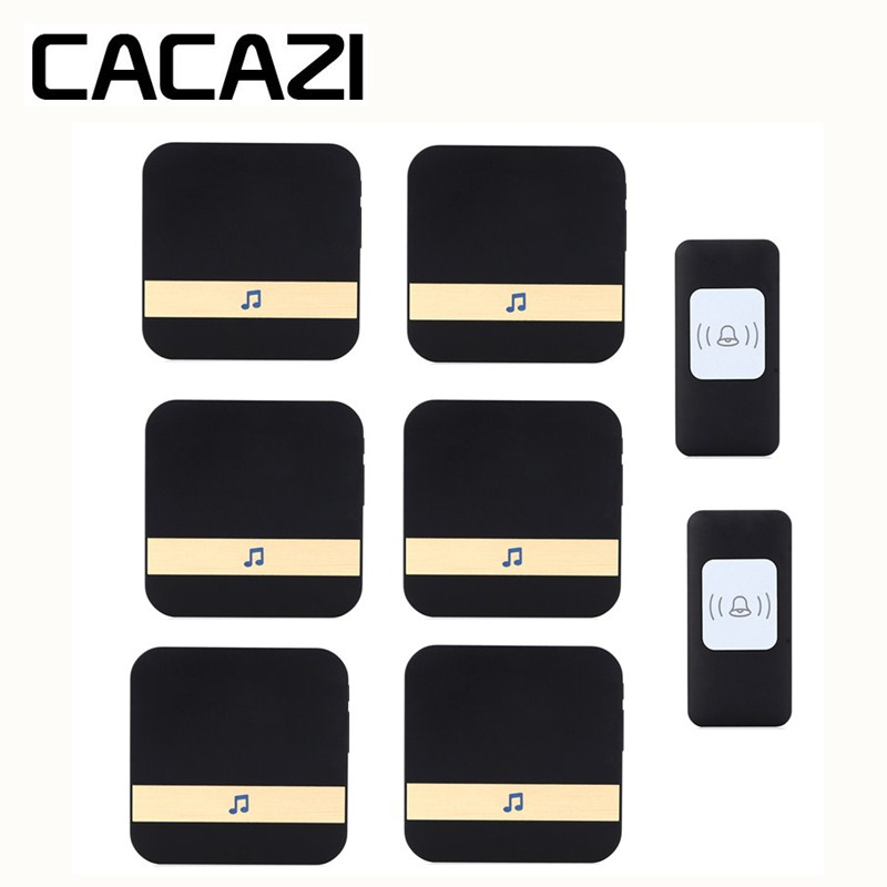 CACAZI Smart Wireless Waterproof Doorbell 300M Remote Battery Button AC 75-250V Receiver US EU Plug Household Call Ring 52 Songs cacazi waterproof wireless battery button doorbell smart sensor 300m remoto receiver 75 250v us plug household ringbell 52 songs