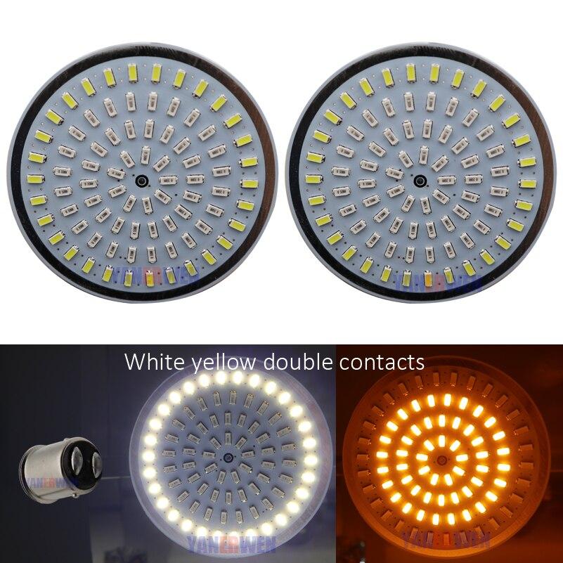 Motorcycle Bullet Turn Signal light Indicator Lamp 1156 1157 White Amber Red LED Inserts Light For Moto Sportster Dyna FLSTF