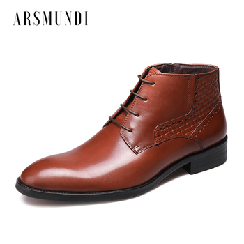 Round Toe Men's Ankle Boots Lace-up Cowhide Leather Embossed Leather Business Office Dress Wedding Formal Boots