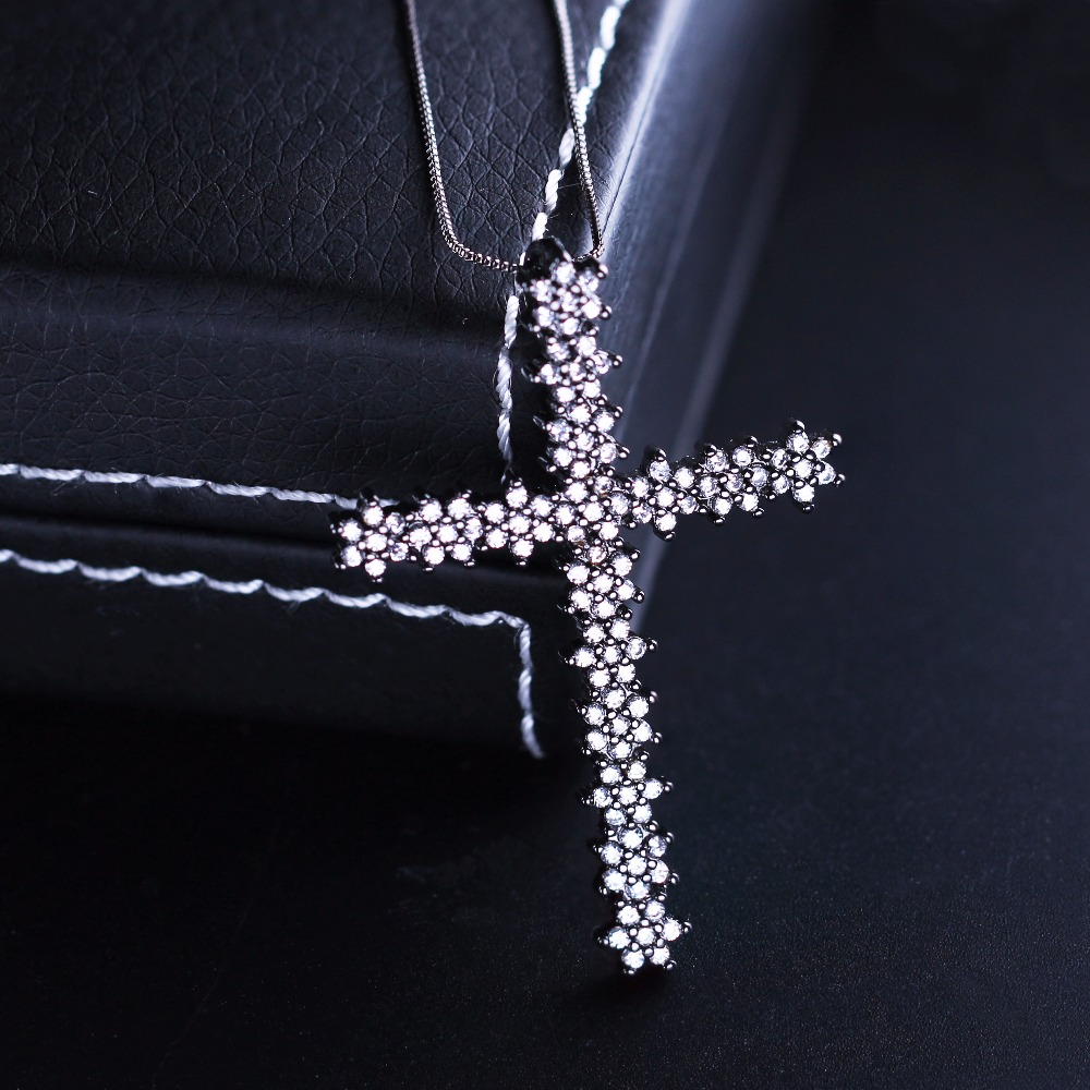 Thanksgiving Black plated Cubic Zircon shiny Cross Necklaces Pendants Cross Christian Jesus Jewelry For Women gift Accessories