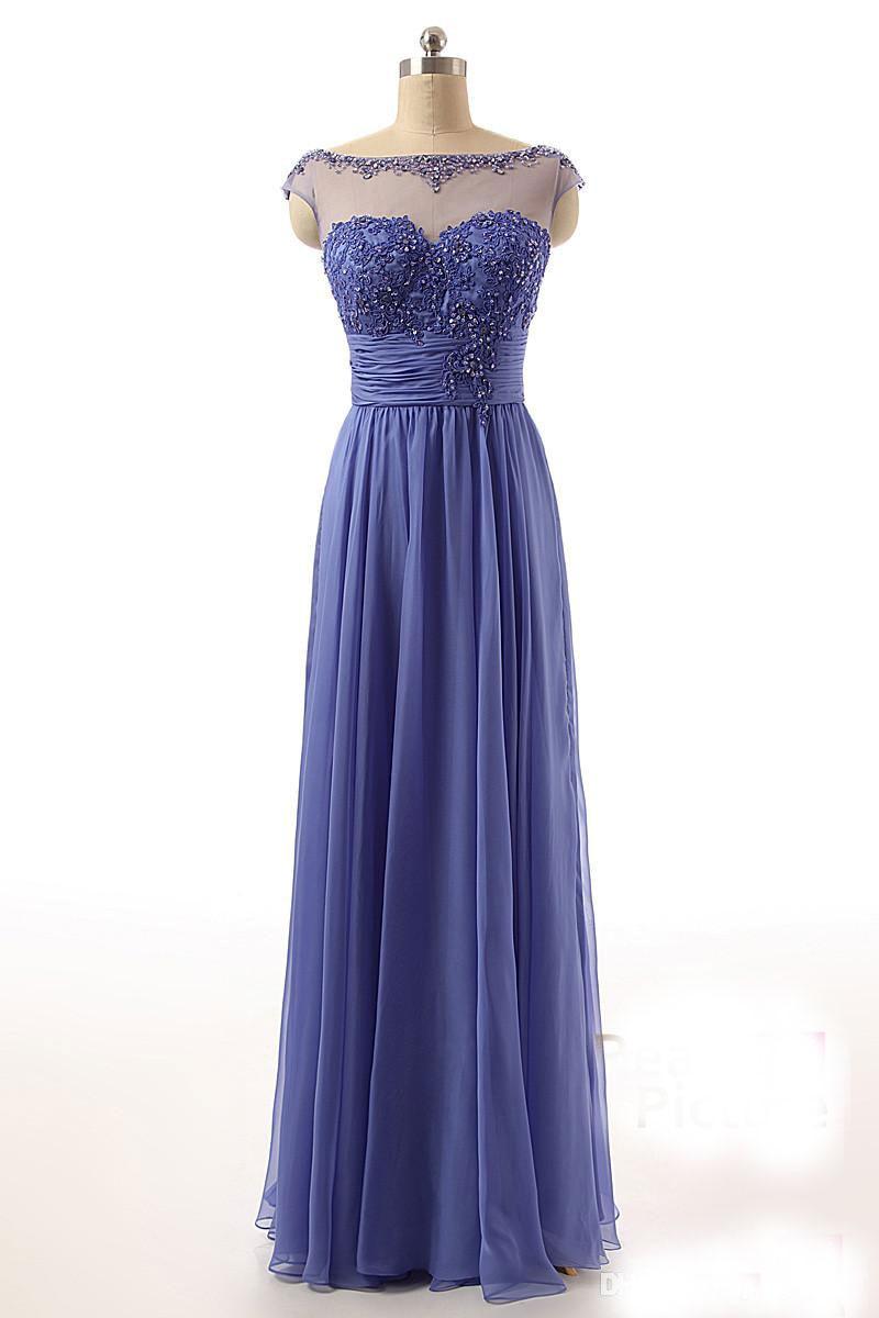 Encantador Reales Vestidos De Dama Azul De Encaje Elaboración ...