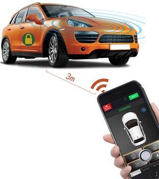 Universal PKE sistema De entrada sin llave cerradura Central Boton De arranque y parada De Alarmas De Vehiculo Smartphone Control remoto para Android/IOS