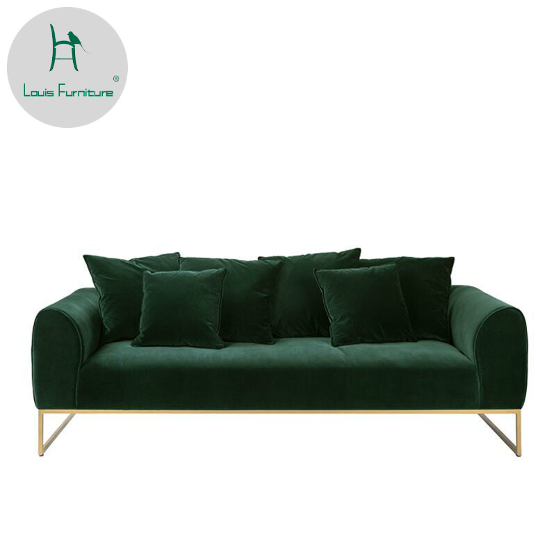 US $450.9 |Louis Fashion Living Room Chairs Nordic Sofa Dark Green Velvet  Small-in Living Room Chairs from Furniture on AliExpress