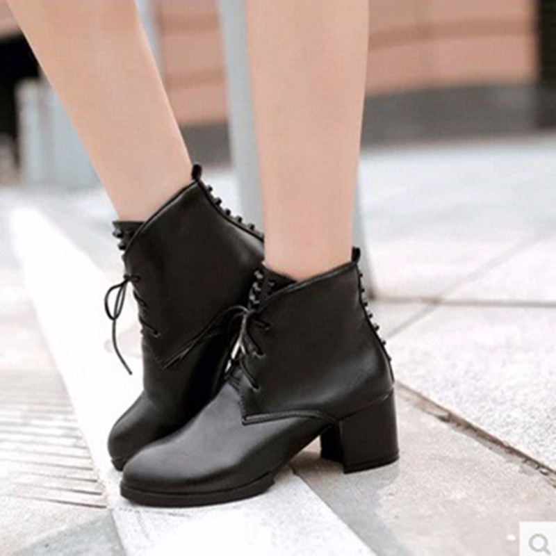 85fdb0f4e93 Ladies Cheap big size US12 warm velvet Rivets Lace-up Pointed toe PU Ankle  Med Square high heeled boot winter boots women Bootie