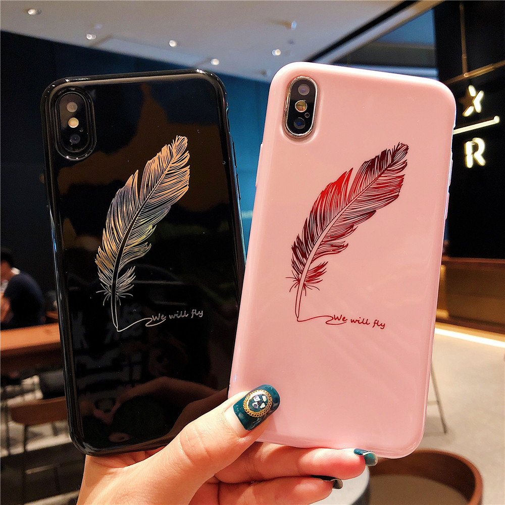 Fashion Feathers Phone Cases For IPhone 7 Cases For IPhone 6 6s 8 Plus X Luxury Quill Pen Drop Black Pink Soft TPU Covers Fundas iPhone