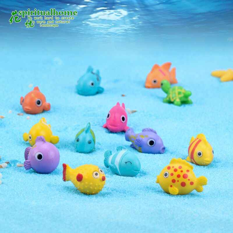 ZOCDOU 1 Piece Colorful Cute Undersea Cartoon Little Fish Model Small Statue Figurine Crafts Figure Goldfish Ornament Miniatures