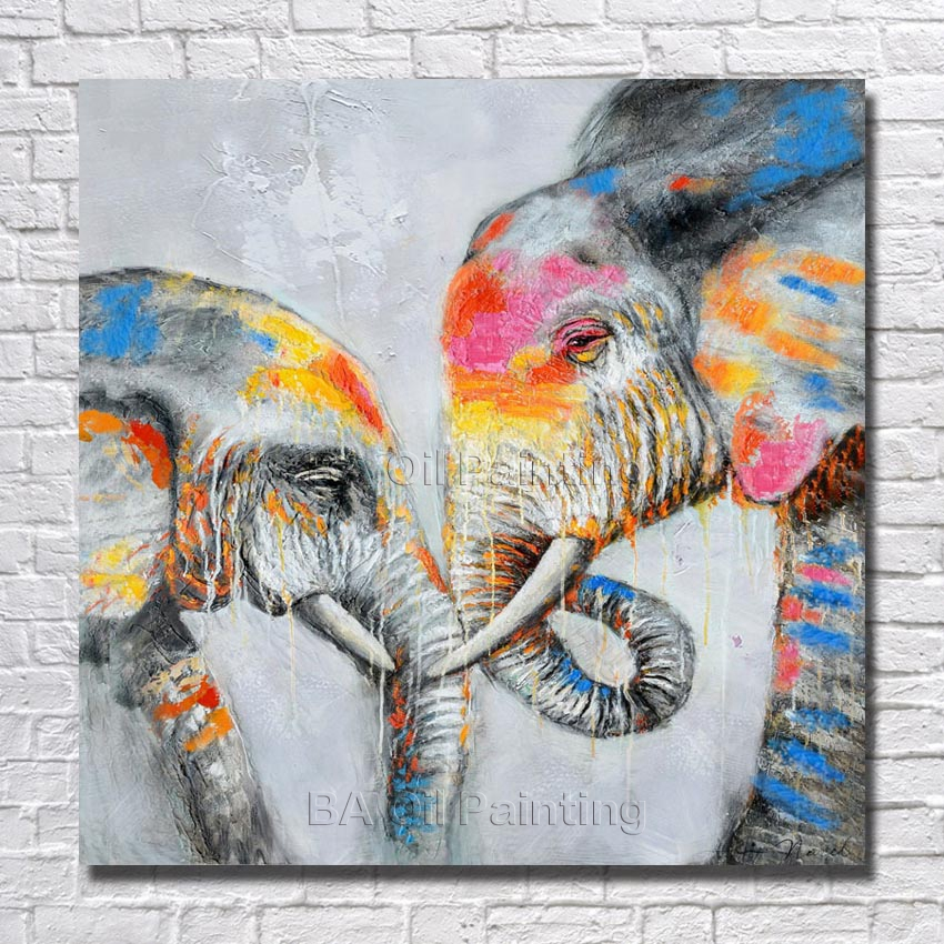 Handpainted oil painting abstract beautiful elephant for Abstract animal paintings