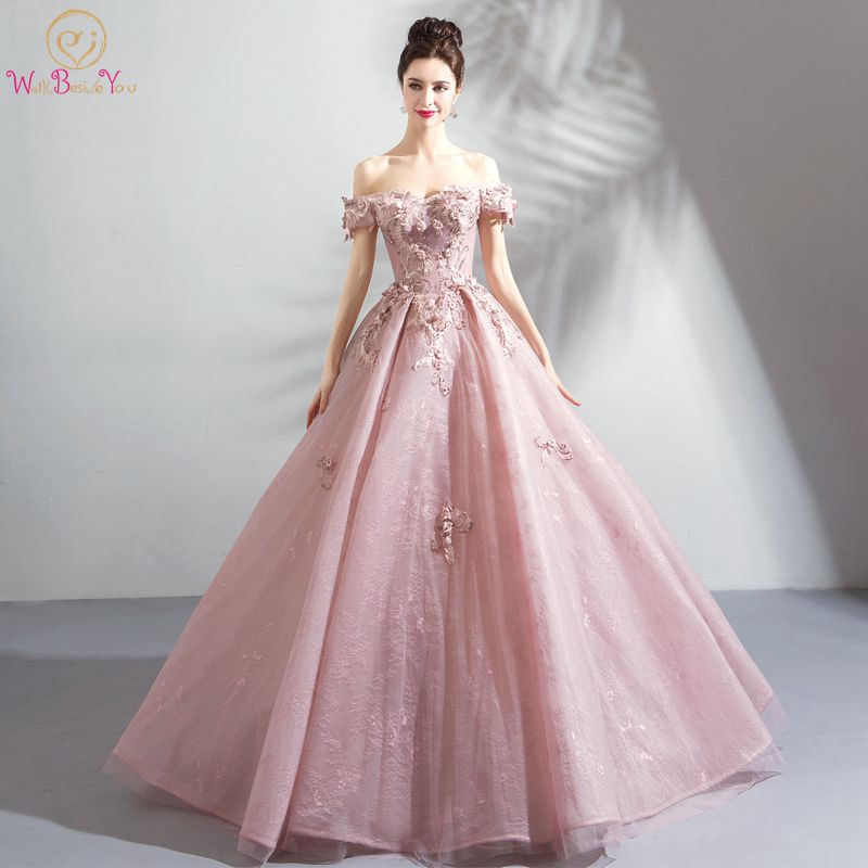 Walk Beside You Longo Prom Dresses 2019 Vestido Social Pink Lace Floral Crystal Off Shoulder Ball