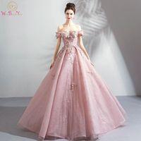 Ходить рядом с вами Longo платья для выпускного вечера 2018 Vestido социальных розовый кружевной Цветочный Кристалл с плеча бальное платье вечерни
