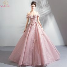 Walk Beside You Longo Prom Dresses 2020 Vestido Social Pink Lace Floral Crystal Off Shoulder Ball Gown Evening Gowns Stock