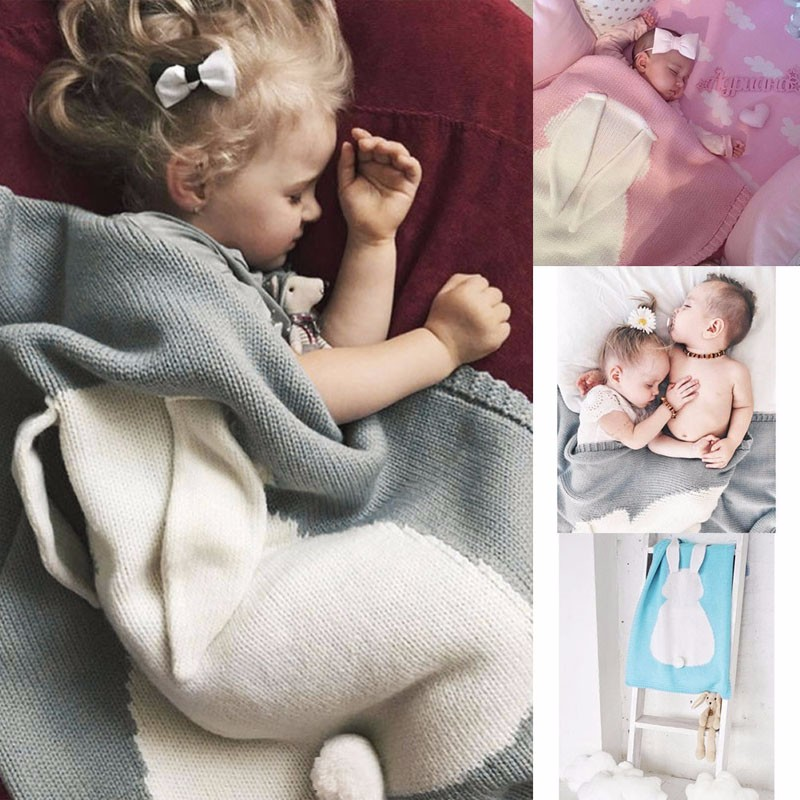Baby Kids Newborn Infant Rabbit Blanket Knit waddle Bedspread Towels Bath Mat
