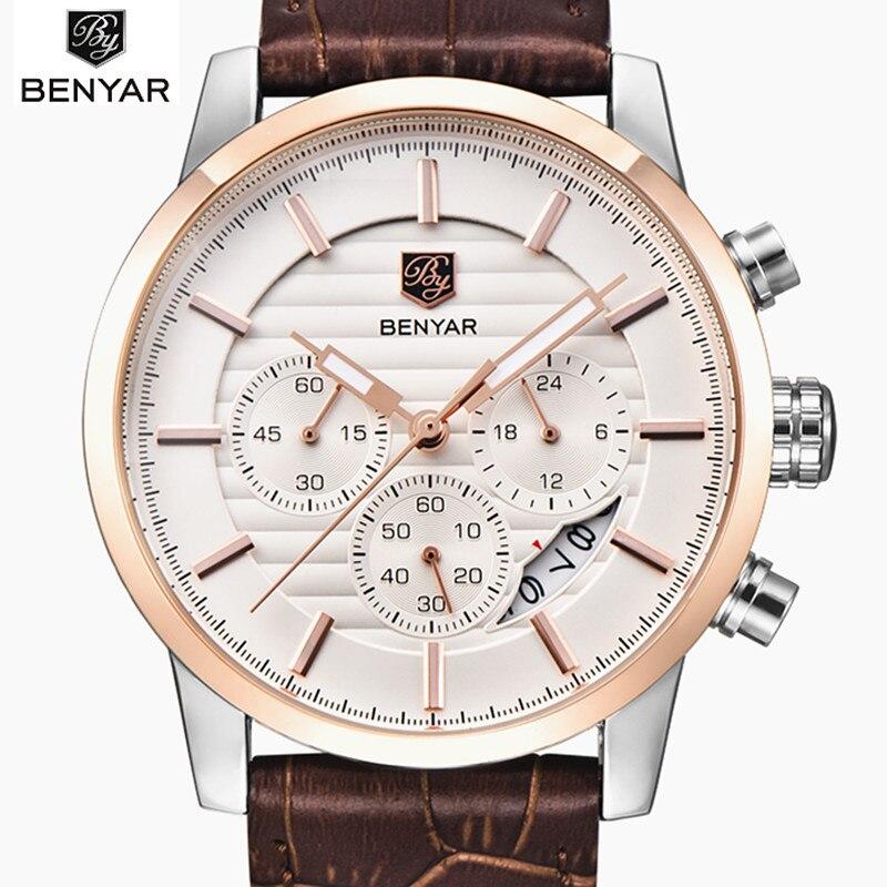 2018 Luxury Brand Benyar Men's Watch Fashion Quartz-watch Waterproof Man Watches Relojes Hombre Leather Relogio Masculino