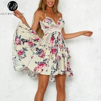 Lily Rosie Girl Backless Lace Summer Dress Spaghetti Strap Boho Women Dress Floral Beach Dress Vestidos