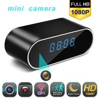 1080P WIFI Mini Camera Time Alarm Wireless Nanny Clock P2P IP/AP Security Night Vision Motion Detection Home Secret hidden TFcar