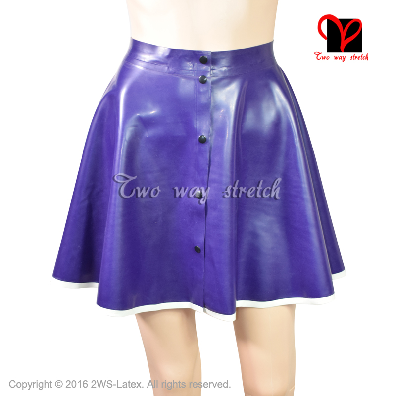 Sexy Latex Skirt Buttons at Front Flares Circle Skater Cheerleader Swing Rubber Miniskirt Mini Skirt Playsuit Bodycon QZ 067