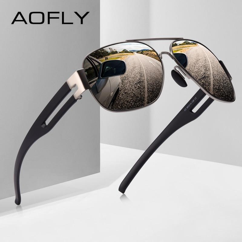 AOFLY Mens Sunglasses Brand Design Metal frame TR90 temple Oversized Polarized Male Sun Glasses For Men gafas oculos masculino