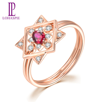 LP Solid 18K Rose Gold Rings for Women Gift Natural Gemstone Ruby Diamond Engagement Ring for July Birthday Gift 2019
