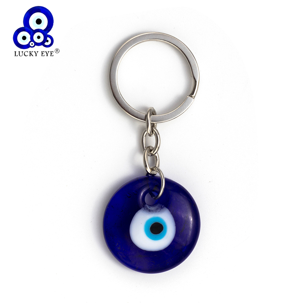 Lucky Eye Glass Evil Eye Keychain 3cm Round Blue Pendant Keychain For Men Women Car Keychain Jewelry EY138