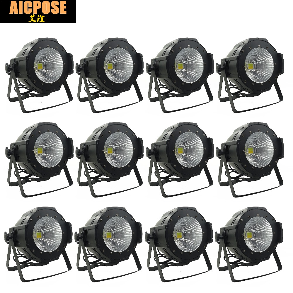 12units LED Par COB Light 100W High Power Aluminium DJ DMX Led Beam Wash Strobe Effect Stage Lighting,Cool White and Warm White freeshipping 4pcs dmx 100w cob warm yellow warm white led dj par light 100 wart dmx512 control mater slave stage lighting effect