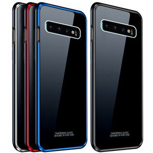 Image 2 - Leanonus 9H Tempered Glass Cover Case for Samsung Galaxy S10/S10 Plus/S9/S9 Plus/Note 9 Coque Hard Metal Bumper Phone Case