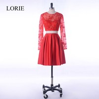 Sexy Prom Dresses in Red 2 Piece Vintage Lace Beading Top Cocktail Party Dress For Teens 2018 Vestido baile curto