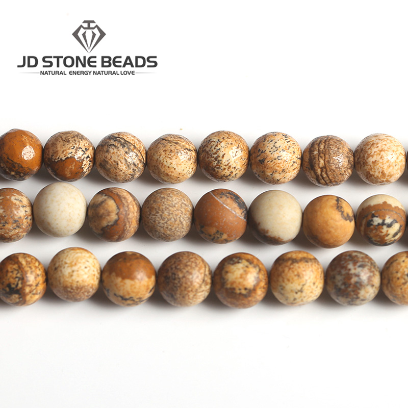 Natural Picture Jasper Matte Round Beads 4 6 8 10 12mm Pick Size Faceted Semi-precious Stone Of DIY For Jewelry Accessory Making