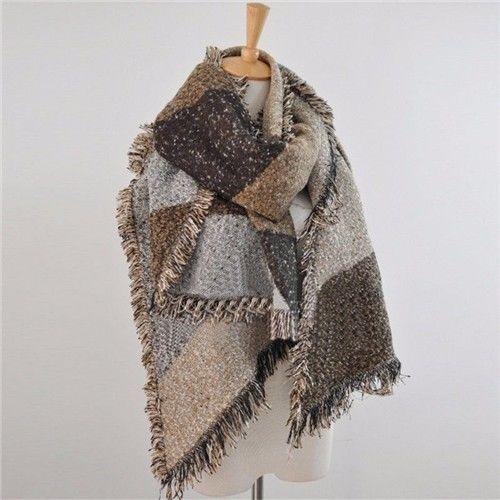 Meihuida модные большие шарфы женские длинные кашемировые зимние полушерстяные мягкий теплый клетчатый шарф шаль клетчатый шарф - Цвет: Кофе