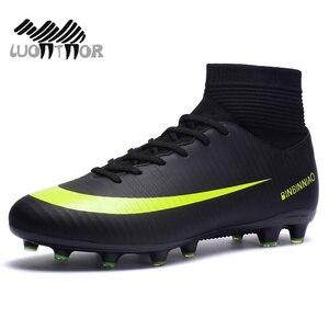 Image 2 - Męskie korki do piłki nożnej piłka nożna knagi buty długie kolce TF kolce kostki wysokie trampki miękkie kryty Turf Futsal buty piłkarskie mężczyzn