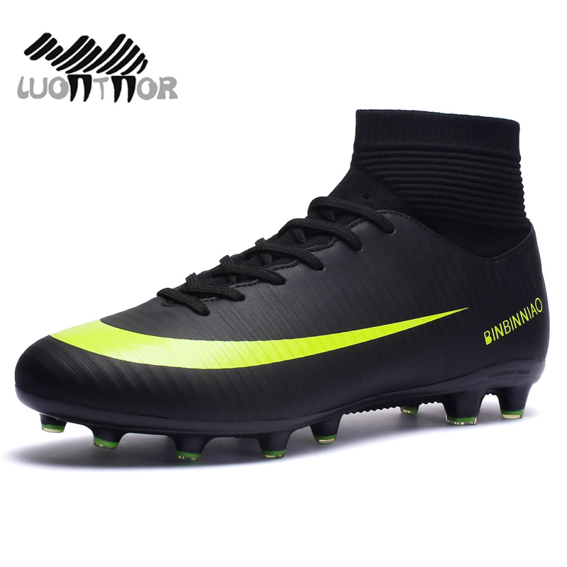 Image 2 - Men Football Boots Soccer Cleats Boots Long Spikes TF Spikes Ankle High Top Sneakers Soft Indoor Turf Futsal Soccer Shoes Men-in Soccer Shoes from Sports & Entertainment