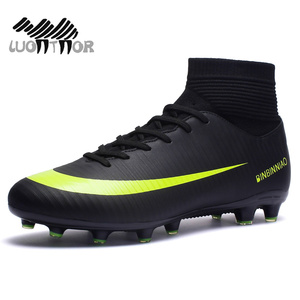 Image 2 - Men Football Boots Soccer Cleats Boots Long Spikes TF Spikes Ankle High Top Sneakers Soft Indoor Turf Futsal Soccer Shoes Men