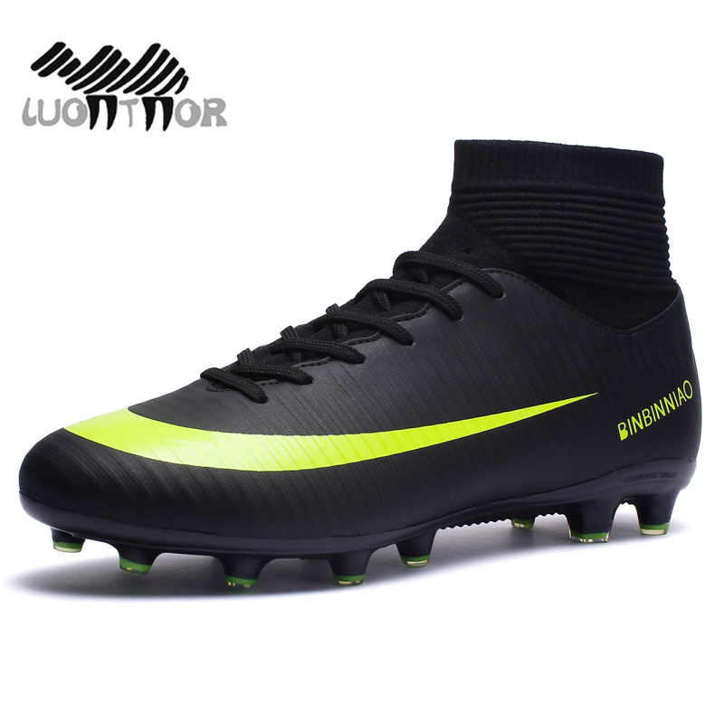 93c70a6221a ... Men Football Boots Soccer Cleats Boots Long Spikes TF Spikes Ankle High  Top Sneakers Soft Indoor ...