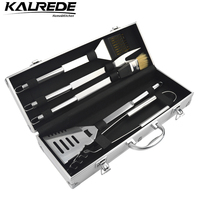 Family Pack 1 Aluminum Cases Set 5 PCS Bbq Tools Grill Barbeque Skewers Outdoor Barbecue Handle