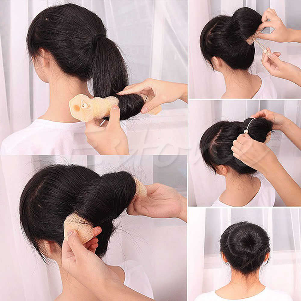 Image 3 - 2pcs Women Hair Styling Former Magic Sponge Bun Maker Donut Ring Shaper Foam Braider Tool For Women DIY Hair Accessories-in Braiders from Beauty & Health