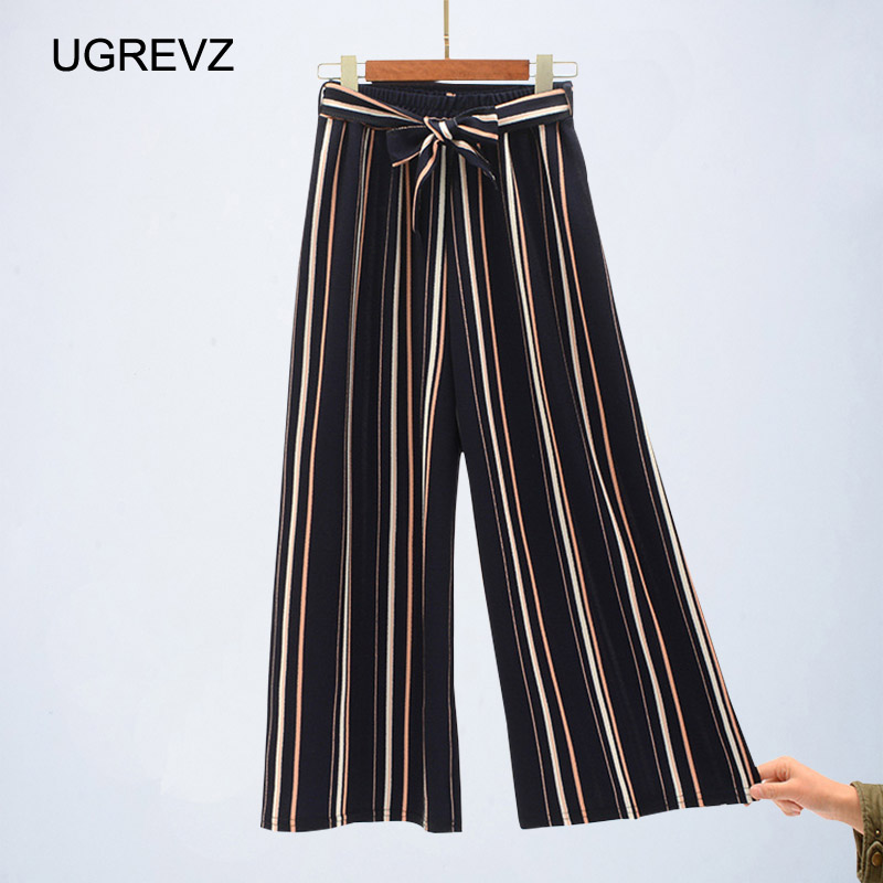 Navy Blue Wide Leg Cropped Pants 2019 Spring Summer Elegant High Waist Women Striped Pants Bow Tie Lace-up Loose Pants 1