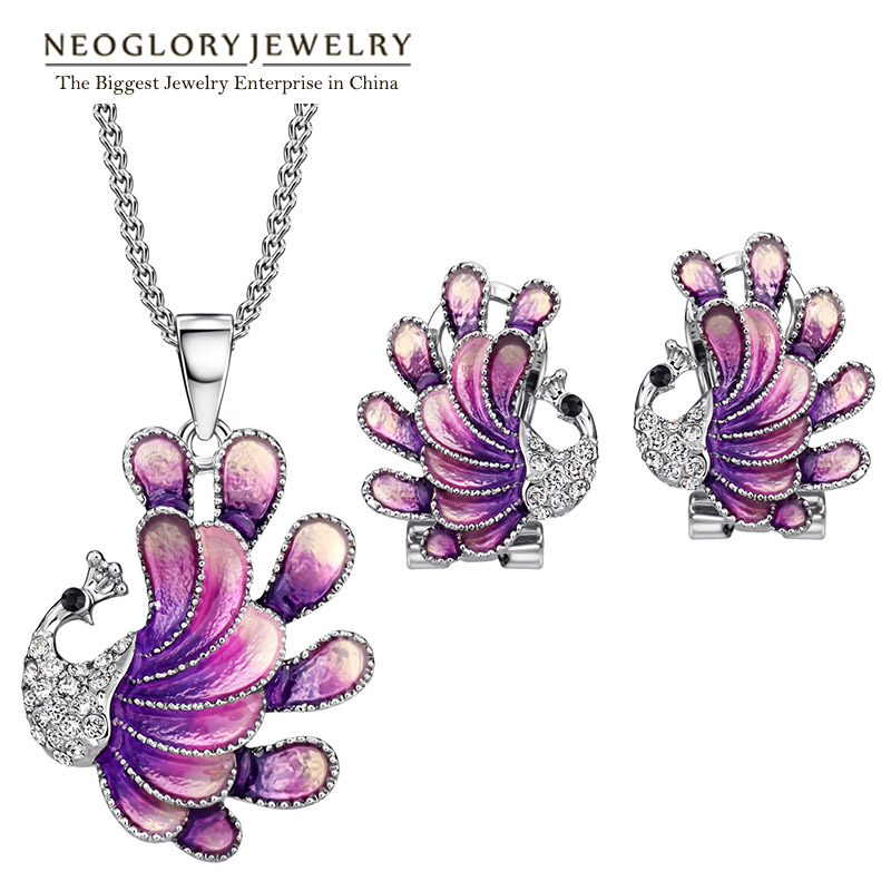 Neoglory Jewelry-Sets Earrings Necklaces Rhinestone Birthday-Gifts Women with Purple