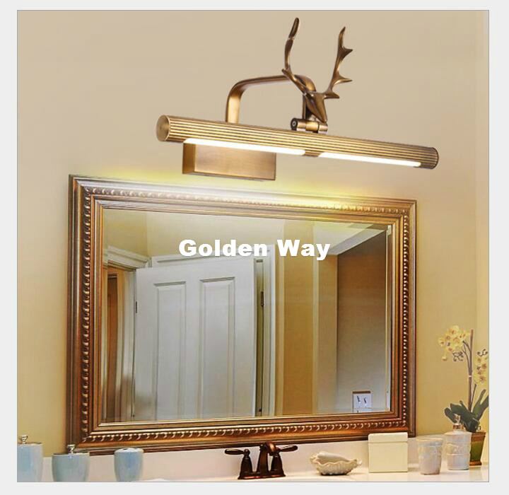 Nordic Bronze LED Wall Lamps in Bathroom with Swing Arm 44CM 64CM 85CM Long over Mirrors Sconces 110V / 220V AC Mirror Lighting modern led crystal bathroom mirror sconces light 14w over mirrors bathroom led lights lamp wall 56cm super long 110v 220v ac