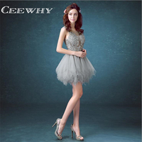 Tulle Embroidery Short Ball Gown Formal Occasion Dress Illusion Party Dresses Above Knee Mini Cocktail Dresses
