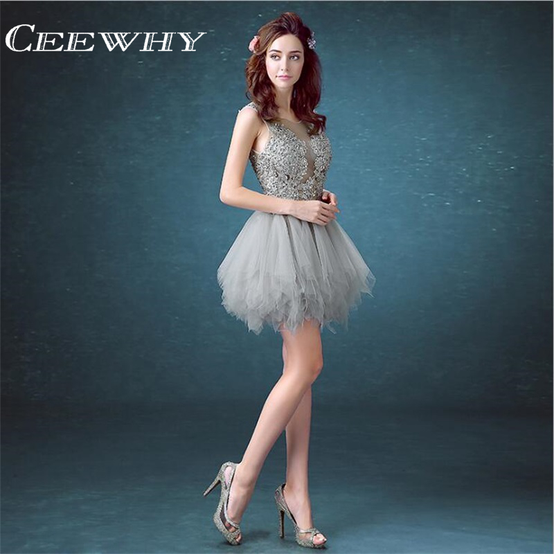 Tulle Embroidery Short Ball Gown Formal Occasion Dress Illusion ...
