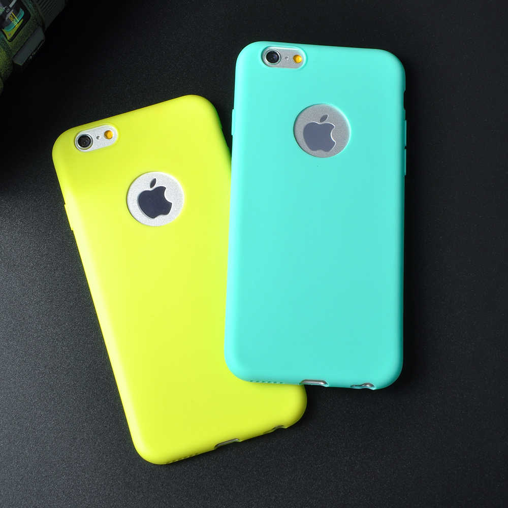 Lovely Candy Color Soft TPU Phone Case For Apple iPhone 6 6S Plus 7 7 Plus Rubber Soft Back Cover Shockproof Phone Cases