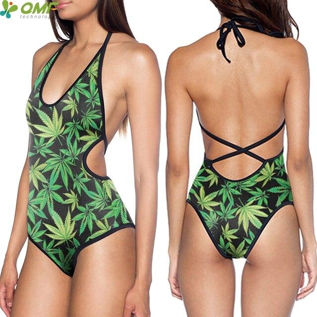 7c9eb273bcd Weed Desktop Print Monokinis One Piece Punk Women Swimwear Halter Bandage  Beachwear Harajuku Green Weed Leaf Bodysuit One Piece